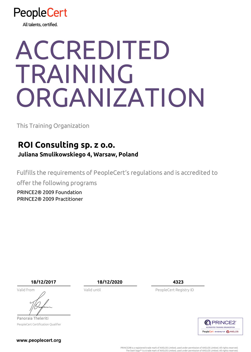 Accredited Training Organization PRINCE2